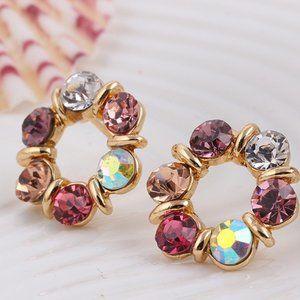 3/$20 New Colourful Gemstone Circle Earrings